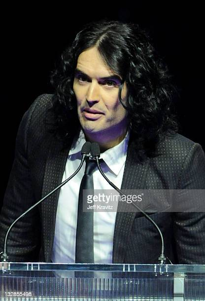 Actor Russell Brand accepts the Comedy Star of the Year award at the CinemaCon awards ceremony held at The Colosseum at Caesars Palace during...