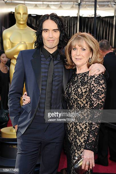 Actor Russell Brand and mother Barbara arrive at the 83rd Annual Academy Awards held at the Kodak Theatre on February 27 2011 in Hollywood California