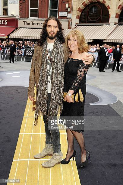 Actor Russell Brand and mother Barbara attends the European Premiere of 'Rock Of Ages' at Odeon Leicester Square on June 10 2012 in London England