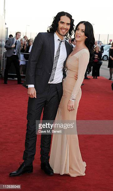 Actor Russell Brand and singer Katy Perry attend the European Premiere of 'Arthur' held at The Cineworld O2 on April 19 2011 in London England