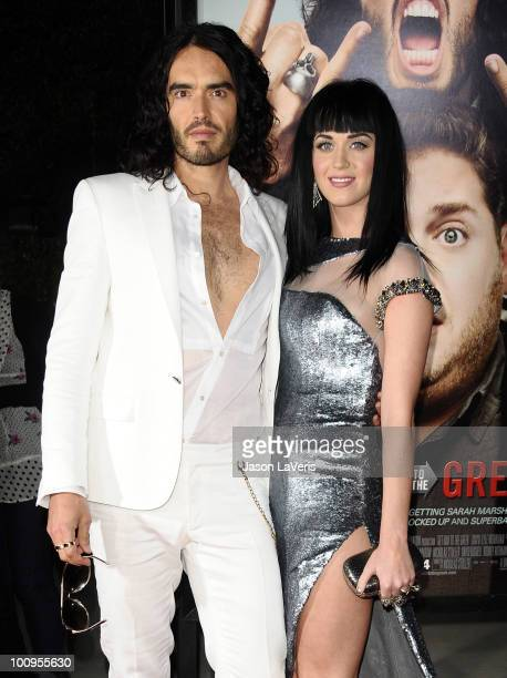 Actor Russell Brand and singer Katy Perry attend the premiere of 'Get Him To The Greek' at The Greek Theatre on May 25 2010 in Los Angeles California