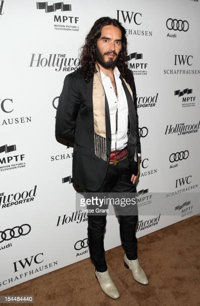 Actor Russell Brand arrives at The Motion Picture Television Fund Presentation of Reel Stories Real Lives at Milk Studios on October 20 2012 in...