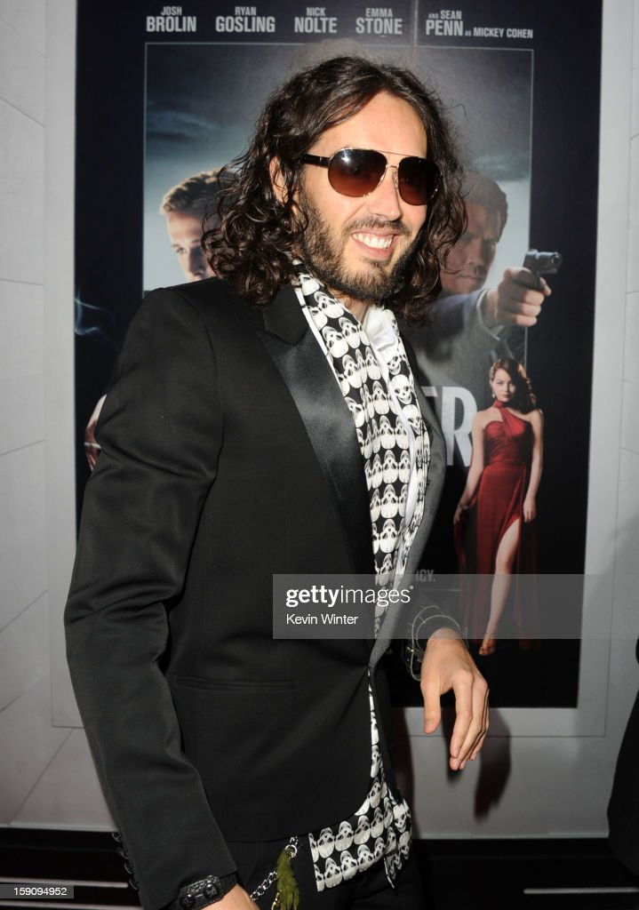 Actor Russell Brand arrives at Warner Bros. Pictures' 'Gangster Squad' premiere at Grauman's Chinese Theatre on January 7, 2013 in Hollywood, California.