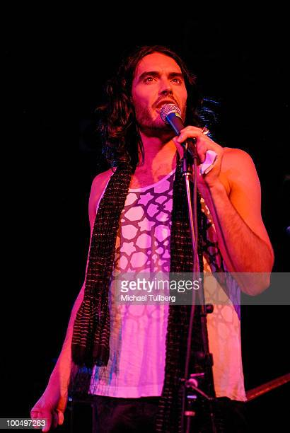 Actor Russell Brand talks to the audience about the new film 'Get Him To The Greek' at the Roxy Theatre on May 24 2010 in West Hollywood California