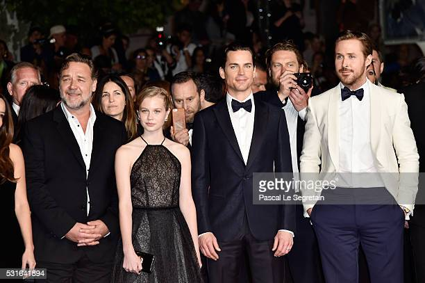 Actor Russell Crowe actress Angourie Rice actor Matt Bomer and actor Ryan Gosling attend 'The Nice Guys' premiere during the 69th annual Cannes Film...