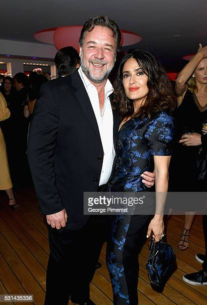 Actor Russell Crowe and actress Salma Hayek attend Vanity Fair and Chopard AfterParty Celebrating the Cannes Film Festival at Hotel du CapEdenRoc on...