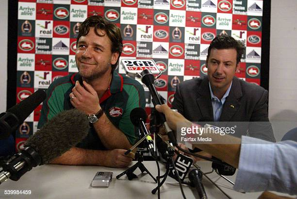 Actor Russell Crowe and businessman Peter Holmes a Court at a press conference at Telstra Stadium in Sydney where the result of the ballot at the...