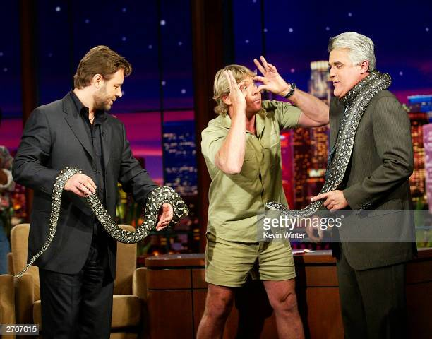 "Actor Russell Crowe and ""Crocodile Hunter"" Steve Irwin appear on ""The Tonight Show with Jay Leno"" at the NBC Studios on November 6, 2003 in Burbank,..."
