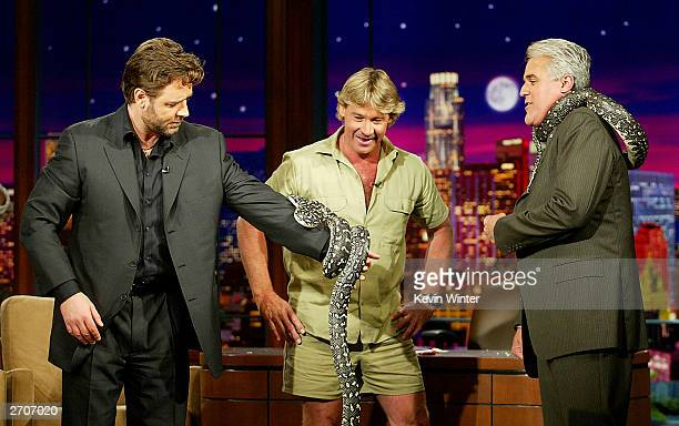 "Actor Russell Crowe and ""Crocodile Hynter"" Steve Irwin appear on ""The Tonight Show with Jay Leno"" at the NBC Studios on November 6, 2003 in Burbank,..."