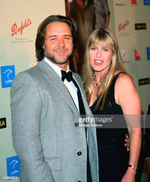 Actor Russell Crowe and Terri Irwin arrive at the G'Day USA Penfolds Black Tie Icon Gala at the Hyatt Regency Century Plaza on January 13 2007 in Los...