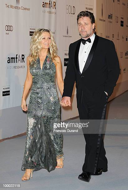 Actor Russell Crowe and wife Danielle Spencer arrive at amfAR's Cinema Against AIDS 2010 benefit gala at the Hotel du Cap on May 20 2010 in Antibes...