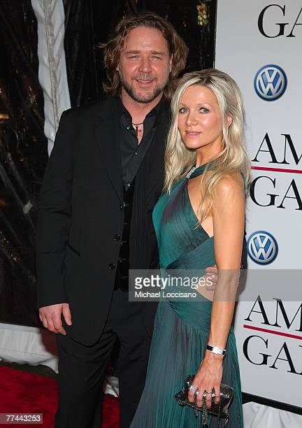 Actor Russell Crowe and wife Danielle Spencer arrive Pearson arrive to the New York Premiere Of American Gangster at The Apollo Theatre in Harlem New...
