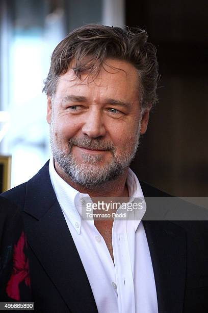 Actor Russell Crowe attends a ceremony honoring director Ridley Scott wtih a Star on The Hollywood Walk Of Fame on November 5 2015 in Hollywood...