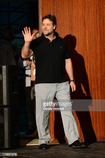 Actor Russell Crowe attends 'Man of Steel' Press Conference during the Taormina Filmfest 2013 on June 15 2013 in Taormina Italy