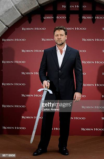 Actor Russell Crowe attends Robin Hood photocall at the Villamagna Hotel on April 28 2010 in Madrid Spain