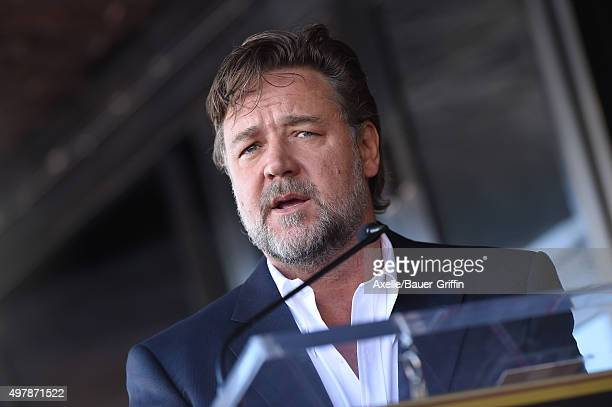 Actor Russell Crowe attends the ceremony honoring director Ridley Scott with a star on the Hollywood Walk of Fame on November 5 2015 in Hollywood...