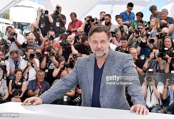 Actor Russell Crowe attends 'The Nice Guys' photocall during the 69th annual Cannes Film Festival at the Palais des Festivals on May 15 2016 in...