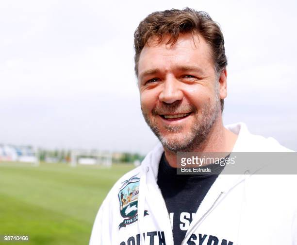 Actor Russell Crowe during a visit to Valdebebas on April 29, 2010 in Madrid, Spain.