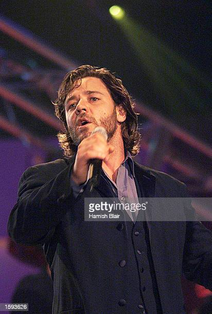 Actor Russell Crowe performs with his band Thirty Odd Foot of Grunts at the Allan Border Medal Presentation February 12 2001 at Crown Casino in...