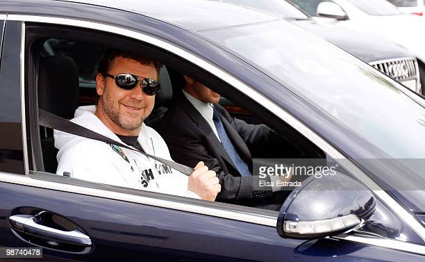 Actor Russell Crowe poses for a photograph during a visit to Valdebebas on April 29, 2010 in Madrid, Spain.