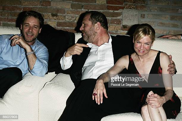 Actor Russell Crowe producer Harvey Weinstein and actress Renee Zellweger attend the after party for 'Cinderella Man' held at the 'I Granai' in the...