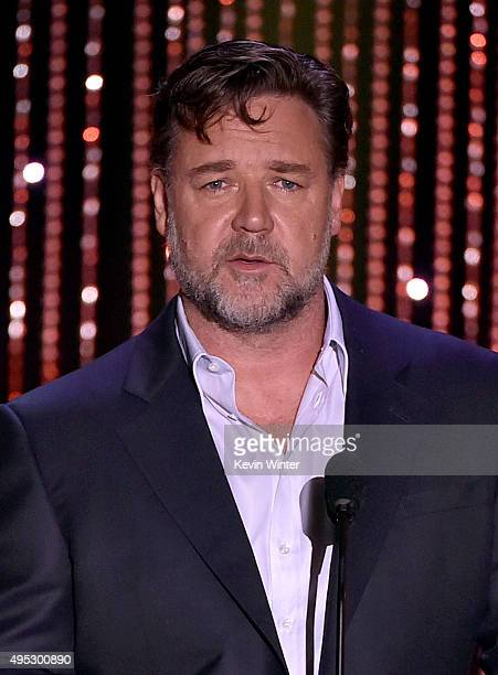 Actor Russell Crowe speaks onstage during the 19th Annual Hollywood Film Awards at The Beverly Hilton Hotel on November 1 2015 in Beverly Hills...