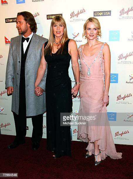 Actor Russell Crowe Terri Irwin and actress Naomi Watts arrive at the G'Day USA Penfolds Black Tie Icon Gala at the Hyatt Regency Century Plaza on...