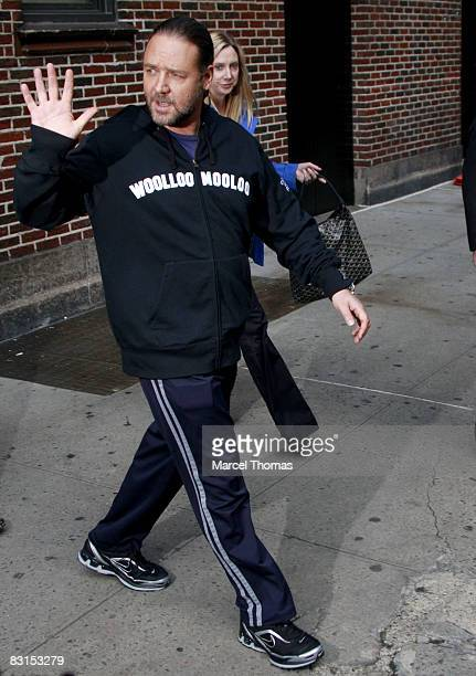 Actor Russell Crowe visits Late Show with David Letterman at the Ed Sullivan Theatre on October 6 2008 in New York City