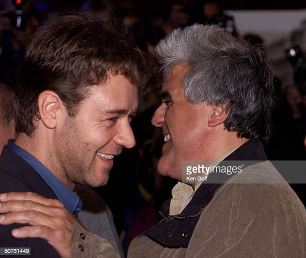 Actor Russell Crowe w. Talk show host Jay Leno at the premiere of the movie Mission Impossible 2 at the Empire, Leicester Square.