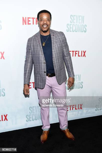 Actor Russell Hornsby arrives at Netflix's 'Seven Seconds' Premiere at The Paley Center for Media on February 23 2018 in Beverly Hills California