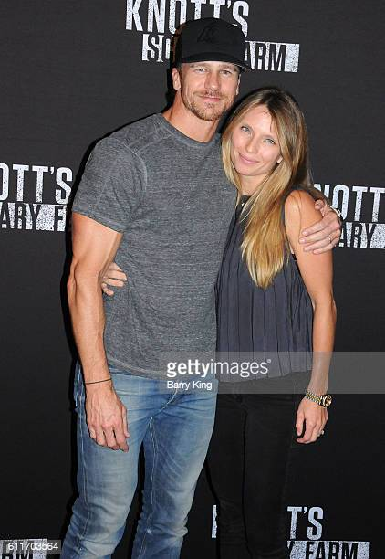 Actor Rusty Joiner and wife Charity Walden attend Knott's Scary Farm black carpet event at Knott's Berry Farm on September 30 2016 in Buena Park...