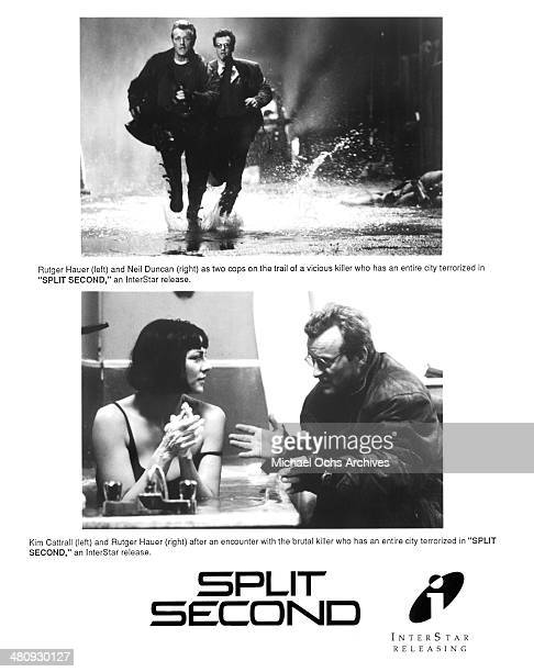 Actor Rutger Hauer and Alastair Duncan on set actress Kim Cattrall and Rutger Hauer in a scene from the movie 'Split Second' circa 1992