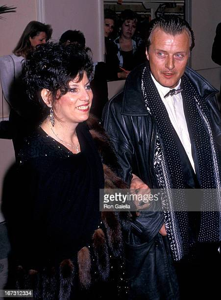 Actor Rutger Hauer and wife Ineke ten Kate attend the 45th Annual Golden Globe Awards on January 23 1988 at the Beverly Hilton Hotel in Beverly Hills...
