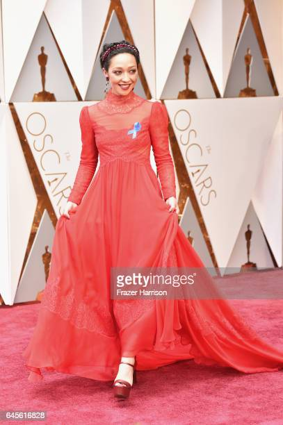 Actor Ruth Negga attends the 89th Annual Academy Awards at Hollywood Highland Center Ruth Negga is wearing Bally Shoes on February 26 2017 in...