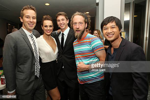 Actor Ryan Carlberg actress Erin Cahill producer Jake Katofsky actor Josh Blue and actor Dat Phan attend the 108 Stitches Screening Party Screening...