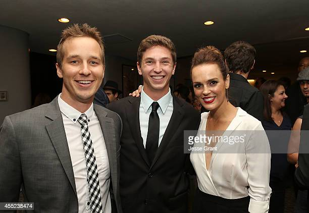 Actor Ryan Carlberg producer Jake Katofsky and actress Erin Cahill attend the 108 Stitches Screening Party Screening Party held at Harmony Gold...