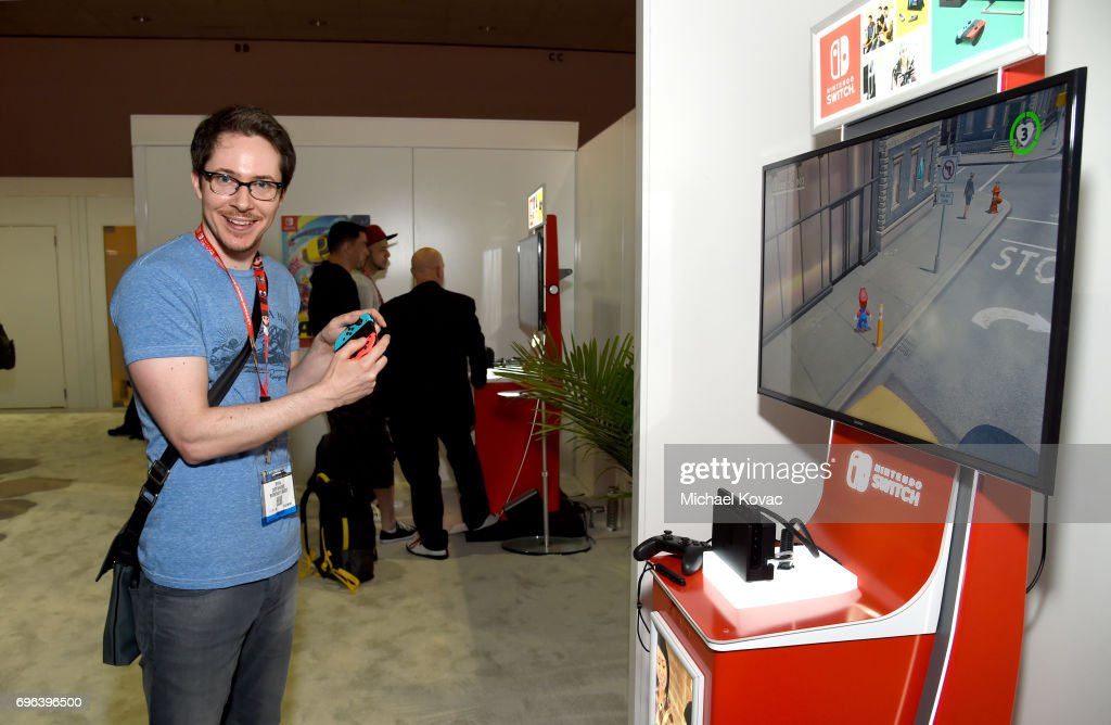 Actor Ryan Cartwright plays Super Mario Odyssey at the Nintendo booth at the 2017 E3 Gaming Convention at Los Angeles Convention Center on June 15, 2017 in Los Angeles, California.