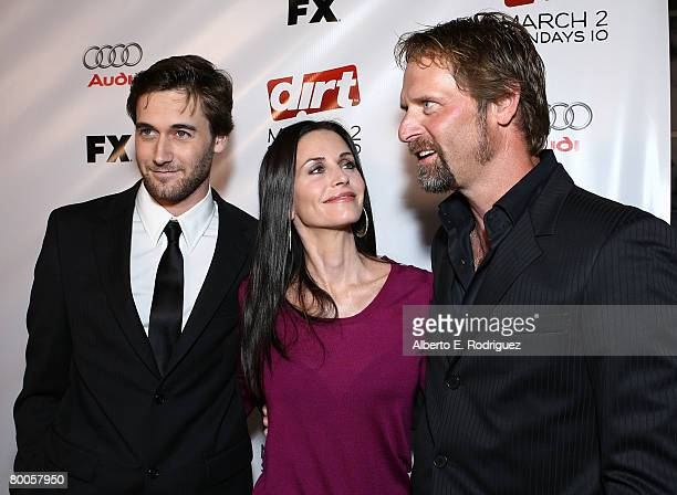 Actor Ryan Eggold actress Courteney Cox and actor Jeffrey Nordling arrive at the 2nd season premiere screening of FX Network's Dirt held at the...