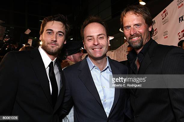 Actor Ryan Eggold FX president John Landgraf and actor Jeffrey Nordling arrive at the 2nd season premiere screening of FX Network's Dirt held at the...