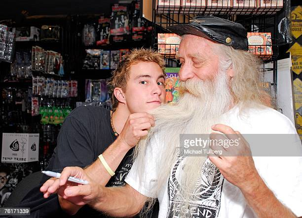 Actor Ryan Fleming and musician Johnny Legend pose at an autograph party for the new graphic novel '2001 Maniacs' held at the Dark Delicacies...