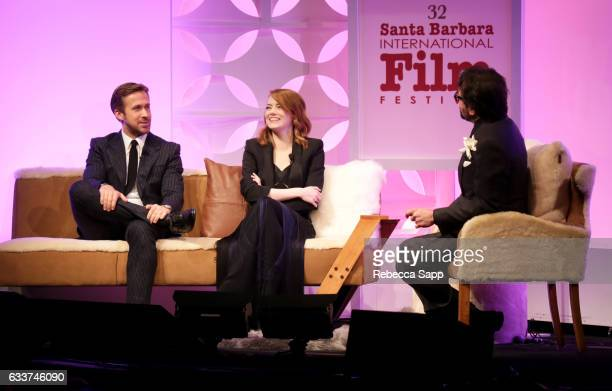Actor Ryan Gosling actor Emma Stone and SBIFF Executive Director Roger Durling speak onstage during the Outstanding Performers Tribute honoring Ryan...