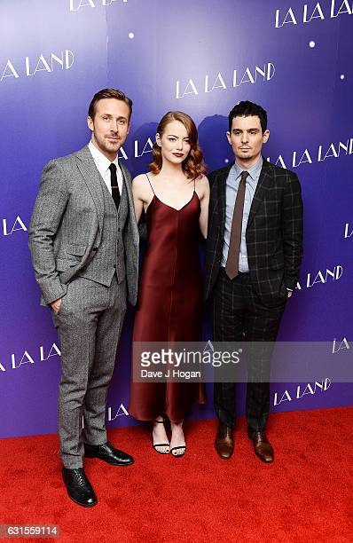Actor Ryan Gosling Actress Emma Stone and Director Damien Chazelle attends the Gala screening of 'La La Land' at Ham Yard Hotel on January 12 2017 in...