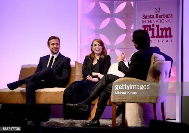 Actor Ryan Gosling actress Emma Stone and SBIFF Executive Director Roger Durling appear onstage at The Santa Barbara International Film Festival on...