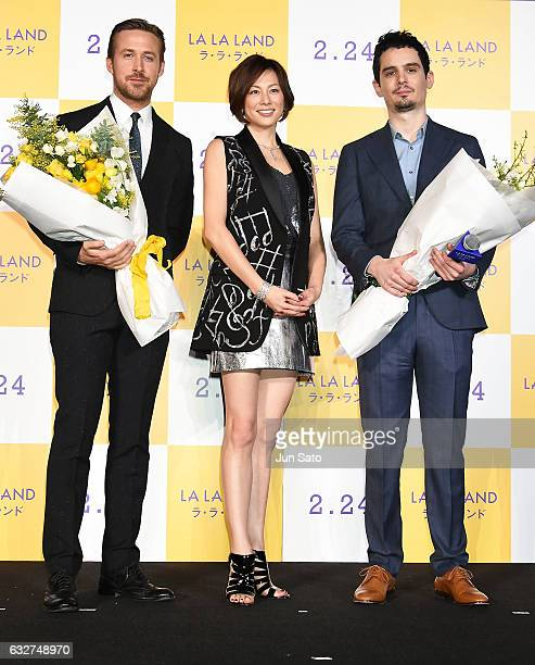 Actor Ryan Gosling actress Ryoko Yonekawa and Director Damien Chazelle attend the Japan premiere of 'La La Land' at Roppongi Hills on January 26 2017...
