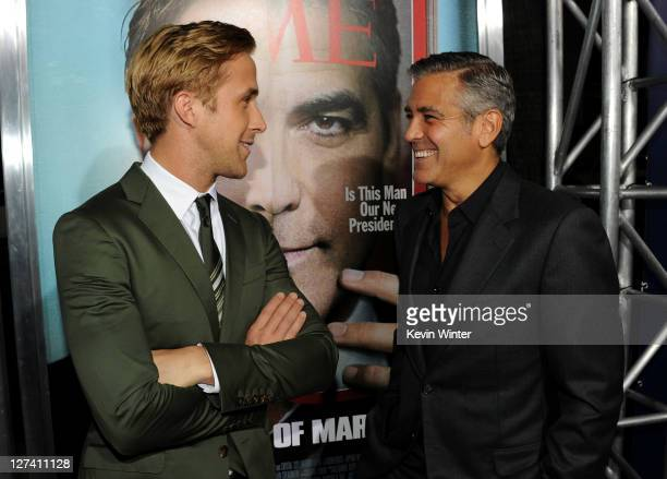 Actor Ryan Gosling and actor/ director George Clooney attend the Premiere of Columbia Pictures' The Ides Of March held at the Academy of Motion...