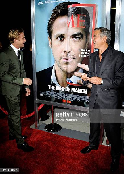 Actor Ryan Gosling and actor/ director George Clooney attend the Premiere of Columbia Pictures' 'The Ides Of March' held at the Academy of Motion...