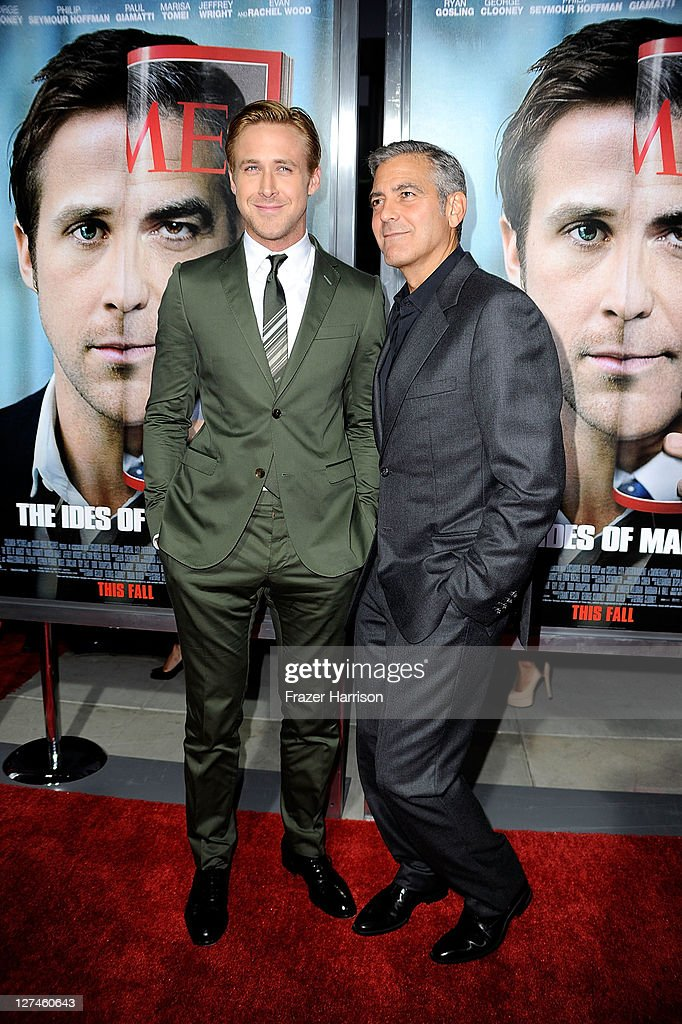 Actor Ryan Gosling (L) and actor/ director George Clooney attend the Premiere of Columbia Pictures' 'The Ides Of March' held at the Academy of Motion Picture Arts and Sciences' Samuel Goldwyn Theatre on September 27, 2011 in Beverly Hills, California.