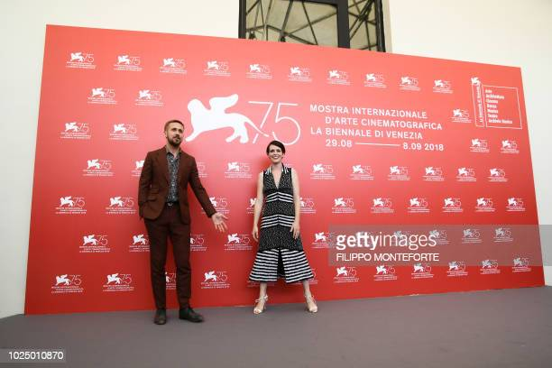 Actor Ryan Gosling and actress Claire Foy attend a photocall for the film First Man on August 29 2018 prior to its premiere in competition at the...