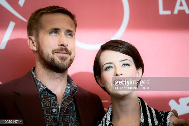 Actor Ryan Gosling and actress Claire Foy pose during a photocall for the film First Man on August 29 2018 prior to its premiere in competition at...