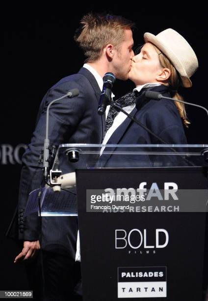 Actor Ryan Gosling and Shannon Plumb speak during amfAR's Cinema Against AIDS 2010 benefit gala at the Hotel du Cap on May 20, 2010 in Antibes,...